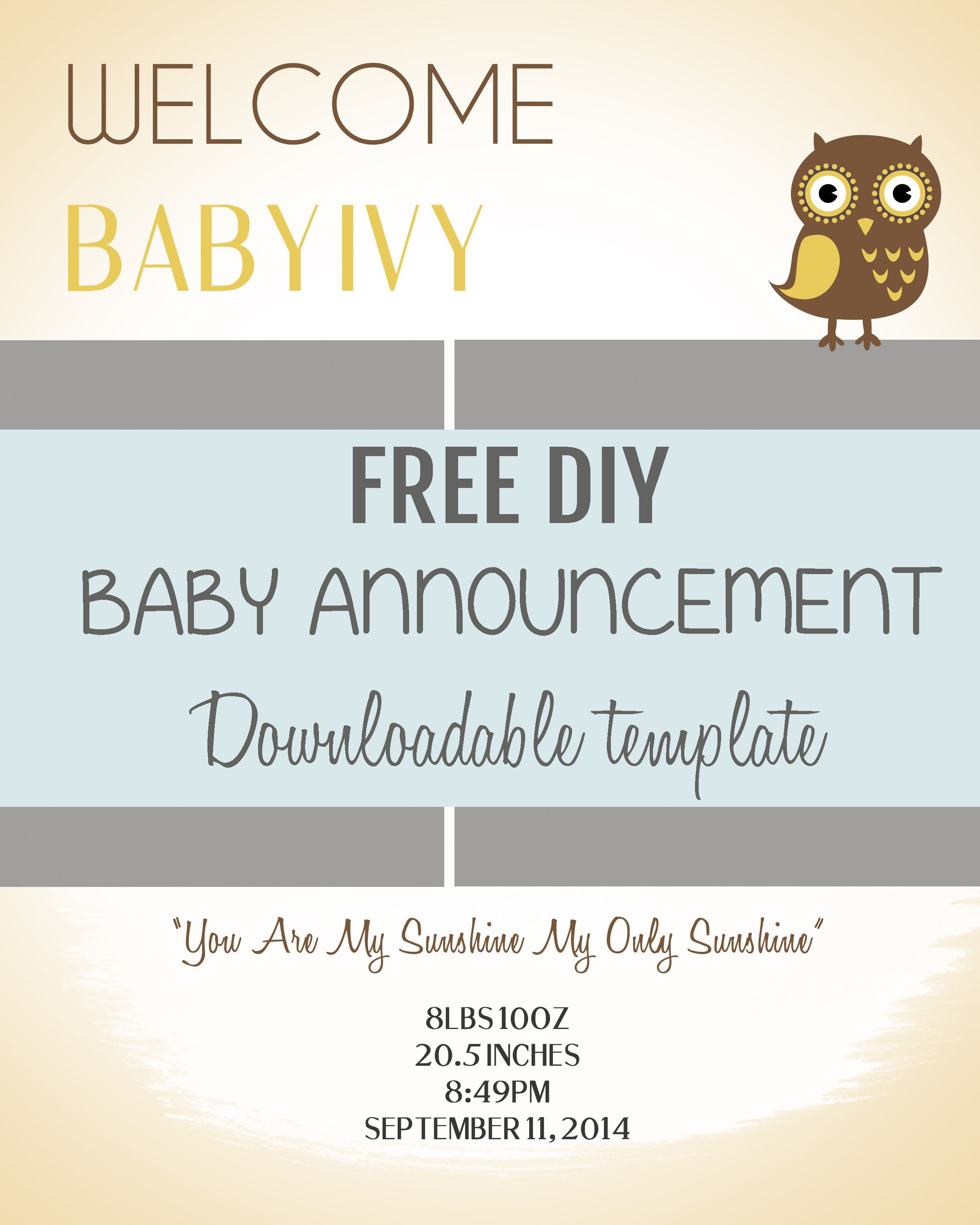 001 Free Birth Announcements Templates Template Ideas ~ Ulyssesroom - Free Birth Announcements Printable