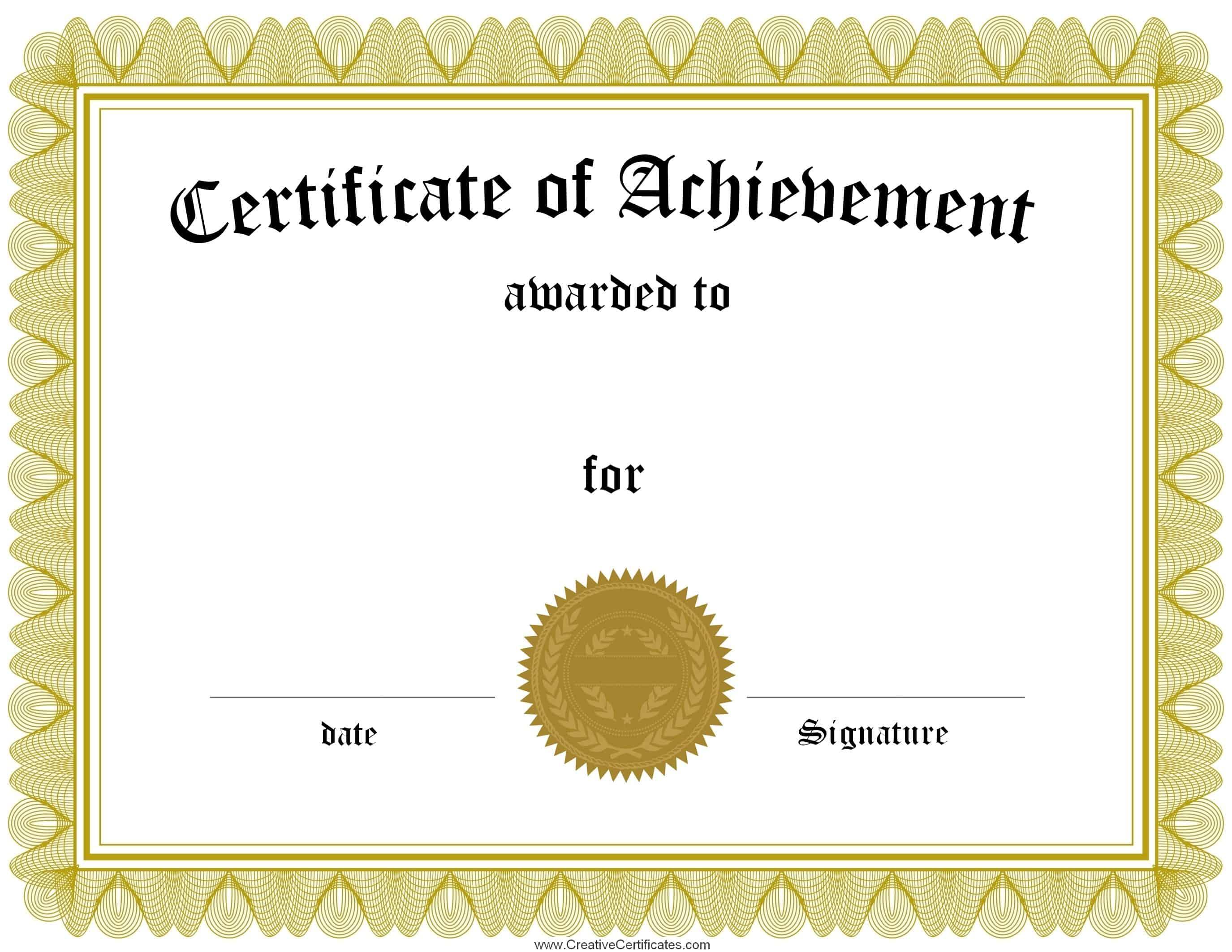 001 Free Printable Certificates Of Achievement Certificate Template - Free Printable Certificate Templates