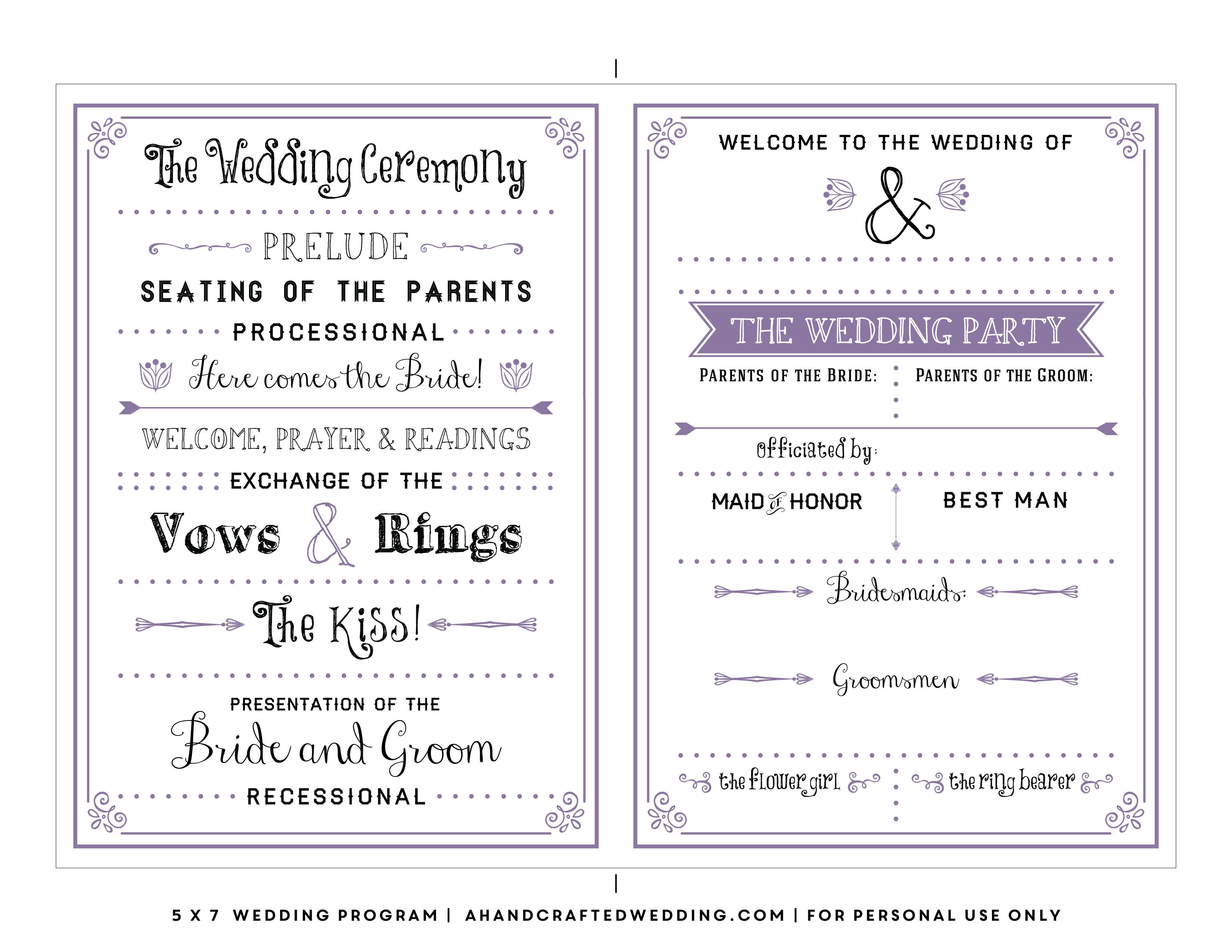002 Template Ideas Free Printable Wedding Program Templates - Free Printable Wedding Program Samples
