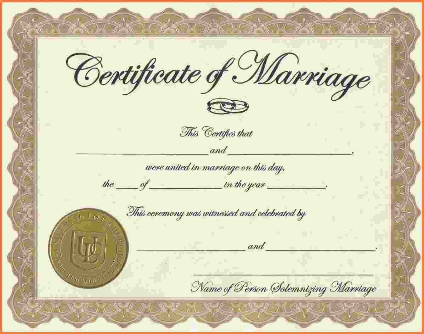 004 Blank Marriage Certificate License Printable Achievement - Fake Marriage Certificate Printable Free