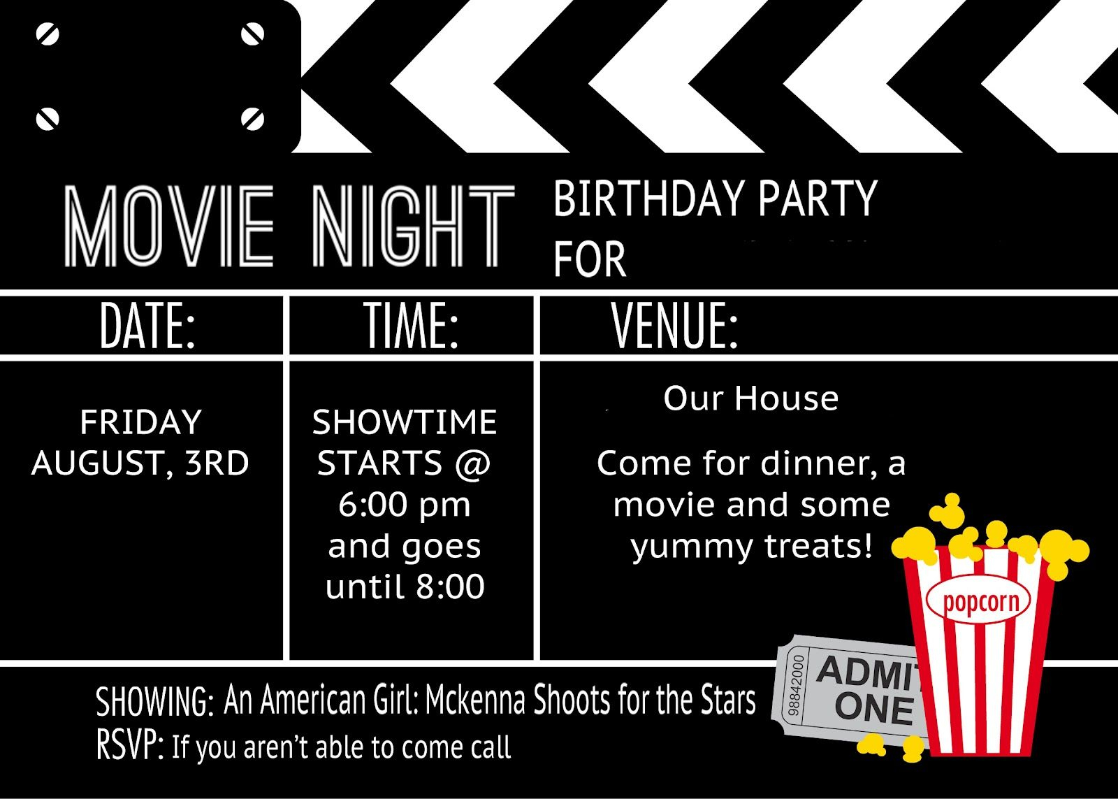 007 Movie Ticket Invitation Template Free ~ Ulyssesroom - Free Printable Movie Themed Invitations