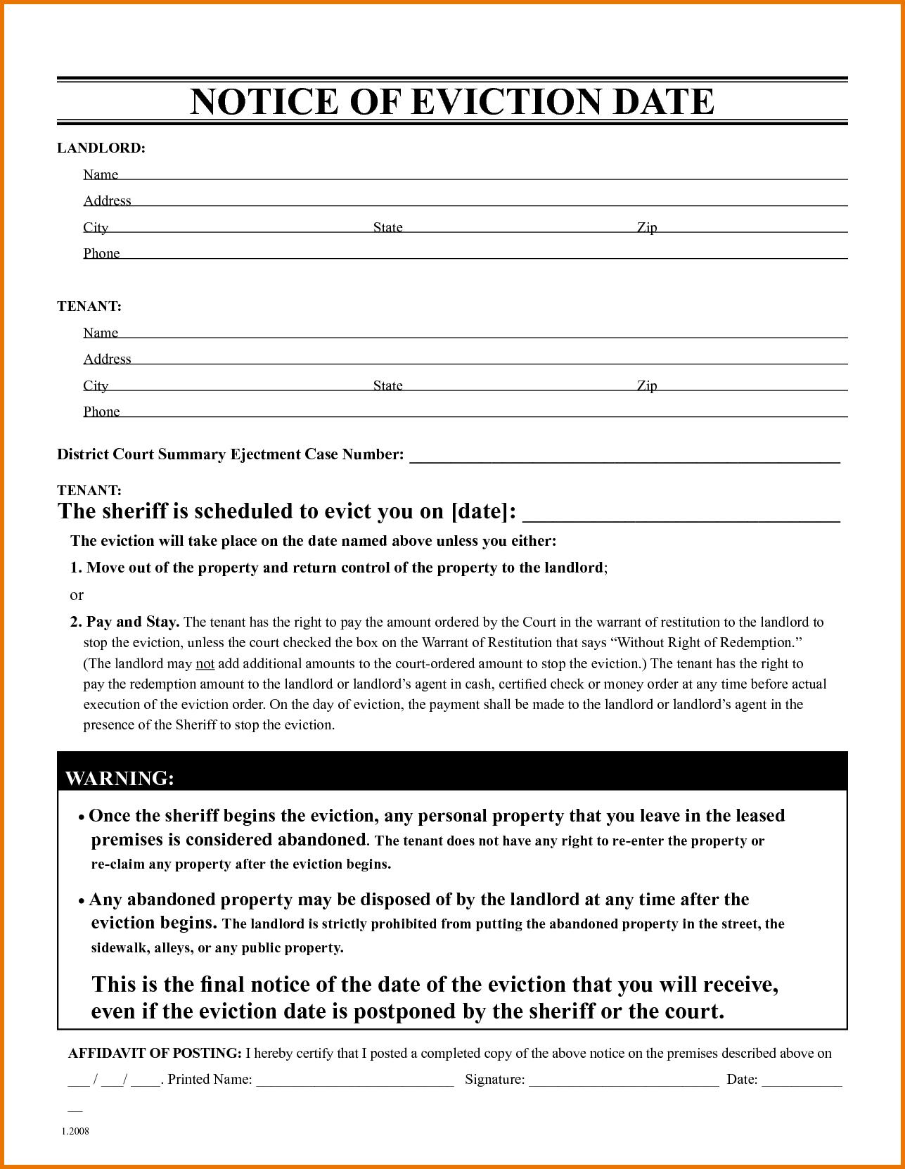 009 Free Eviction Notice Templates Template ~ Ulyssesroom - Free Printable Eviction Notice Ohio