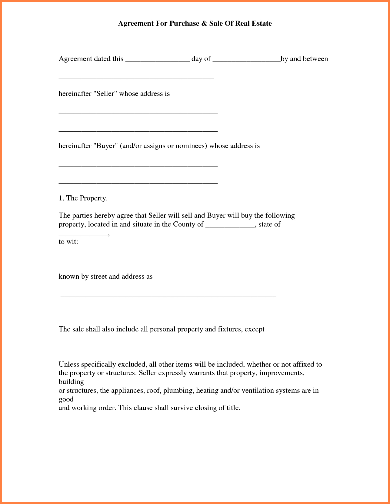 013 Simple Land Purchase Agreement Form Free Printable Real Estate - Free Printable Real Estate Forms