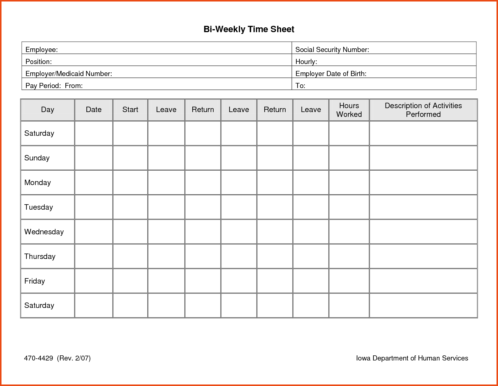 013 Time Sheet Templates Free Daily Timesheet Template Printable - Free Printable Weekly Time Sheets
