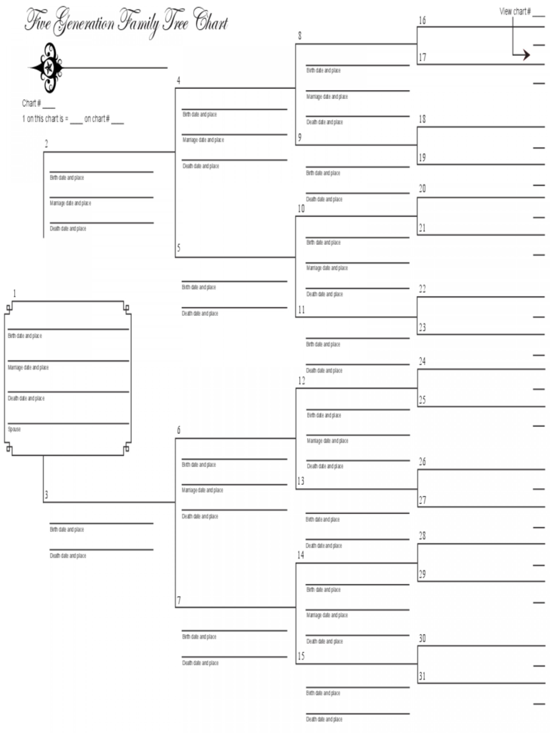 016 Five Generation Family Tree Template Printable Templates - Free Printable Family History Forms