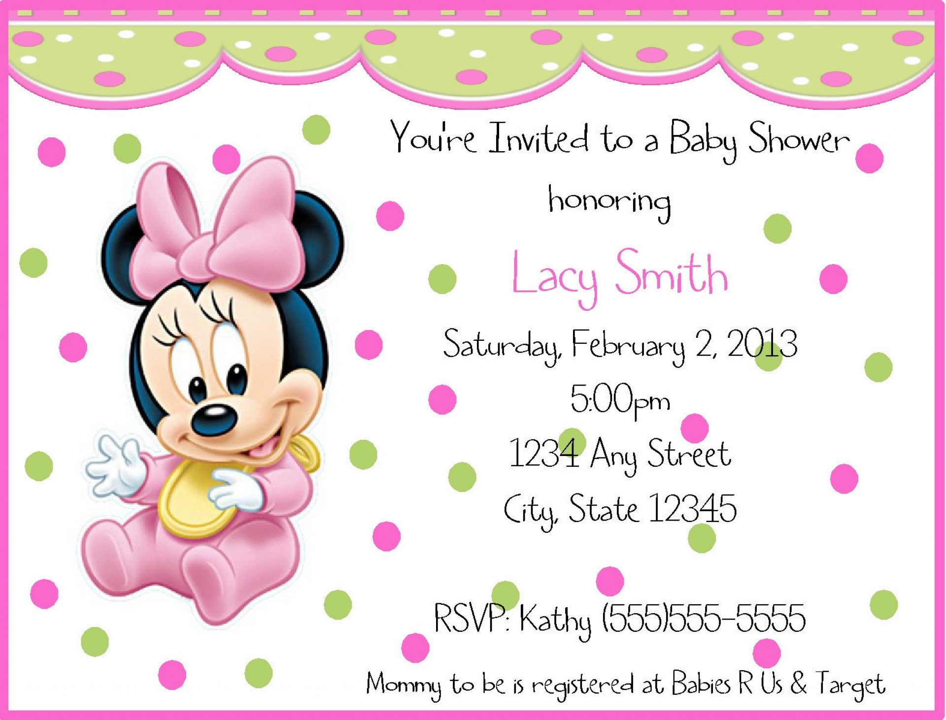 016 Minnie Mouse Birthday Invitation Template Ideas Baby ~ Ulyssesroom - Free Printable Baby Mickey Mouse Birthday Invitations