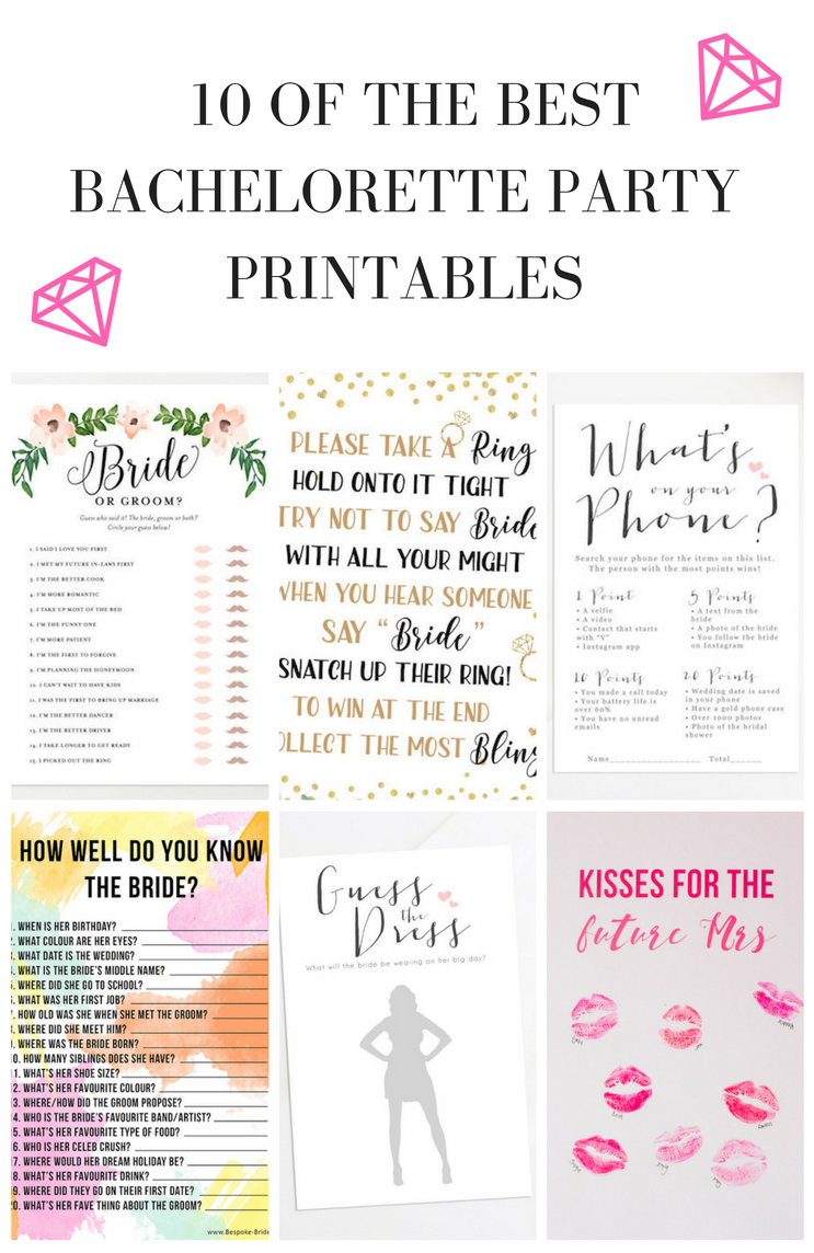 10 Bachelorette Party And Bridal Shower Games & Free Printables - Free Printable Bachelorette Party Games