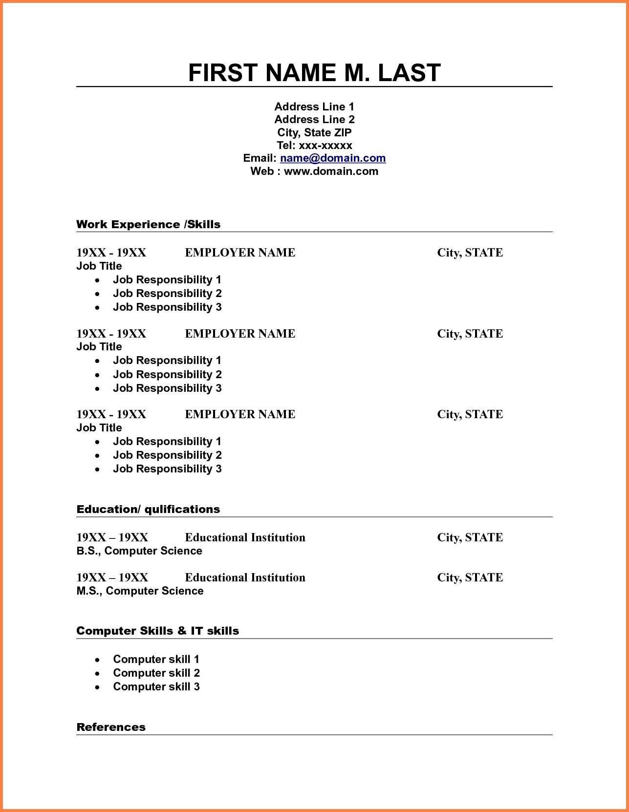 10 Blank Resume Template Pdf Professional List Free Printable 3 - Free Printable Professional Resume Templates