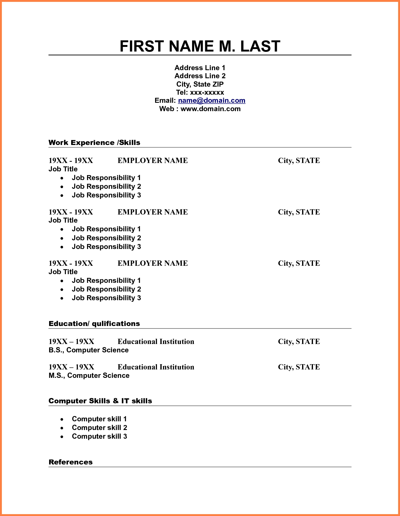 10 Blank Resume Template Pdf Professional List Free Printable 3 - Free Printable Resume Templates
