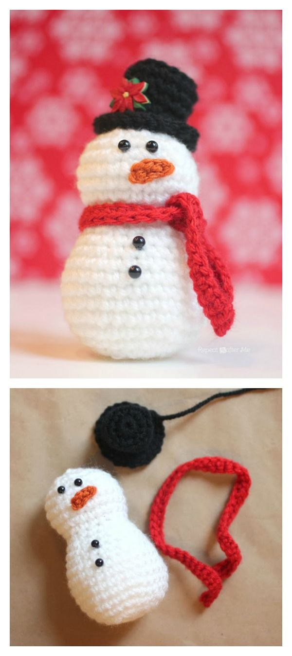 10 Crochet Amigurumi Snowman Free Patterns | Crochet | Pinterest - Free Printable Christmas Crochet Patterns