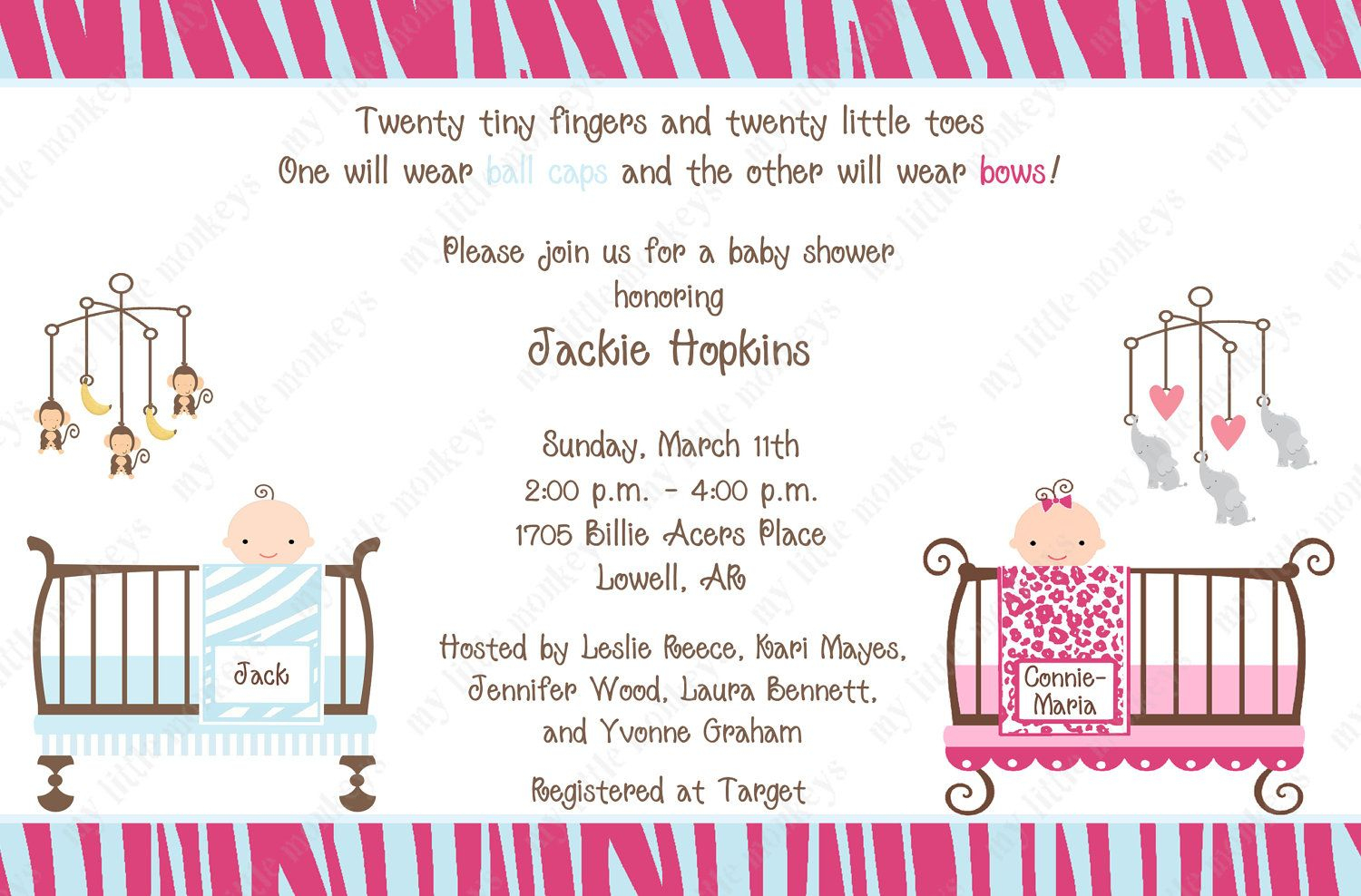 10 Jungle Twins Baby Shower Invitations With Envelopes. Free Return - Free Printable Twin Baby Shower Invitations