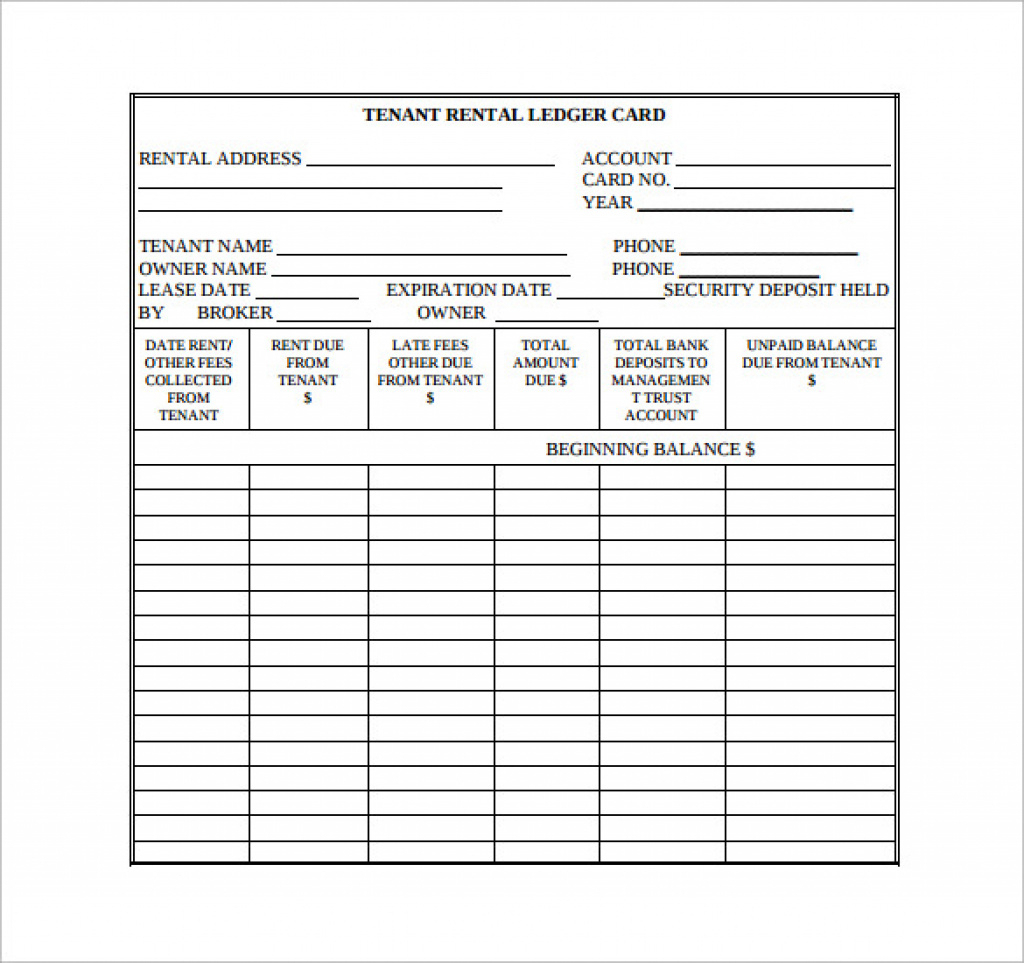10+ Rental Ledger Templates – Pdf | Sample Templates Regarding Free - Free Printable Rent Ledger
