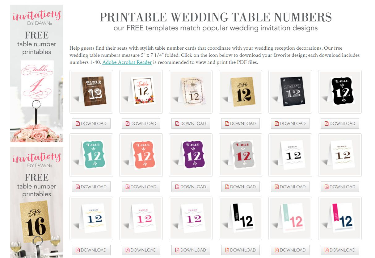 107 Sets Of Free, Printable Wedding Table Numbers - Free Printable Table Numbers