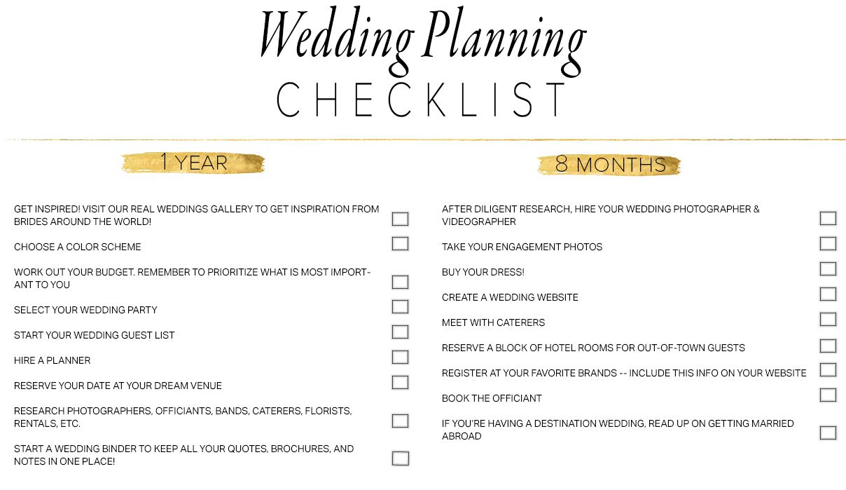 11 Free, Printable Wedding Planning Checklists - Free Printable Wedding Checklist