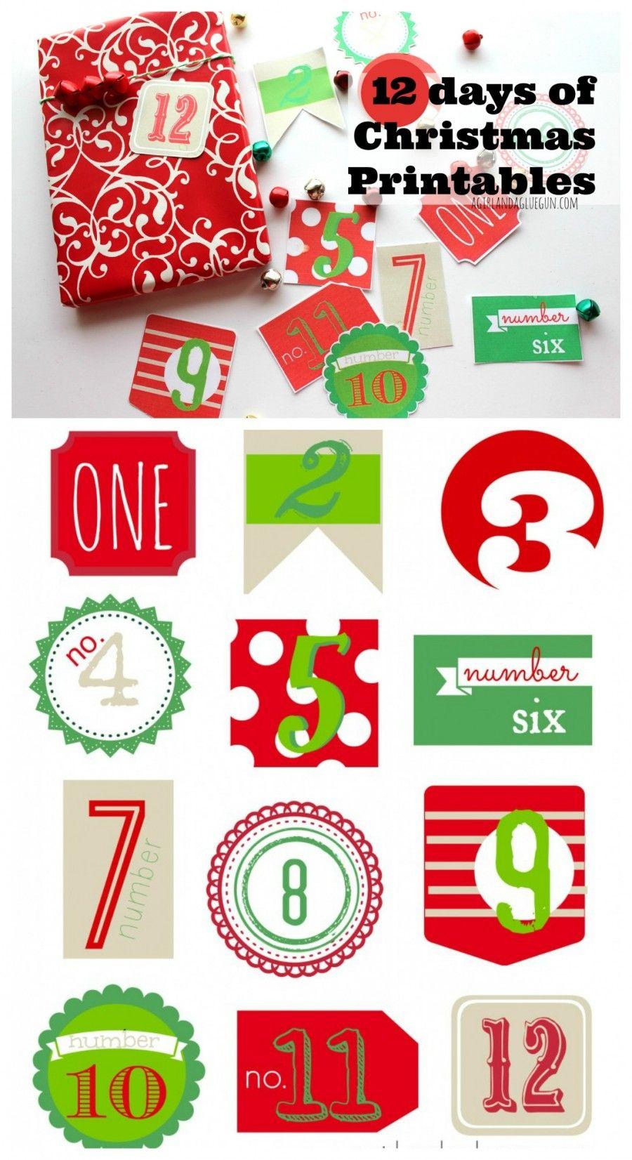12 Days Of Christmas Free Printable | Christmas & Winter | Pinterest - Free Printable 12 Days Of Christmas Gift Tags