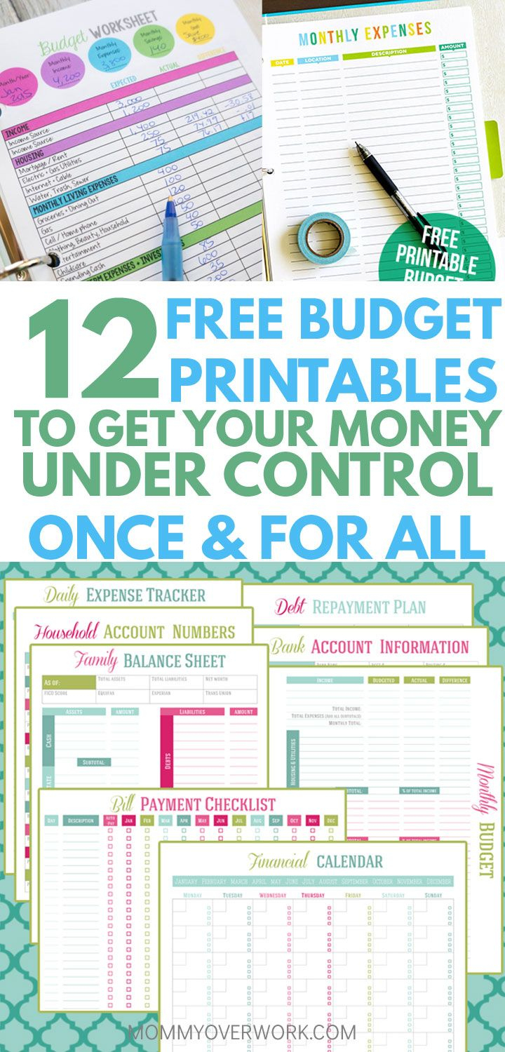12 Free Printable Budget Worksheets To Get Control Of Your Money - Free Printable Home Organizer Notebook