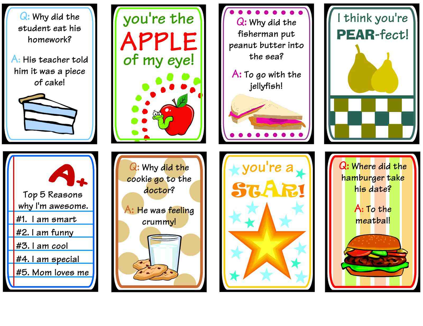 12 Sets Of Free Lunch Box Notes - Free Printable Lunchbox Notes