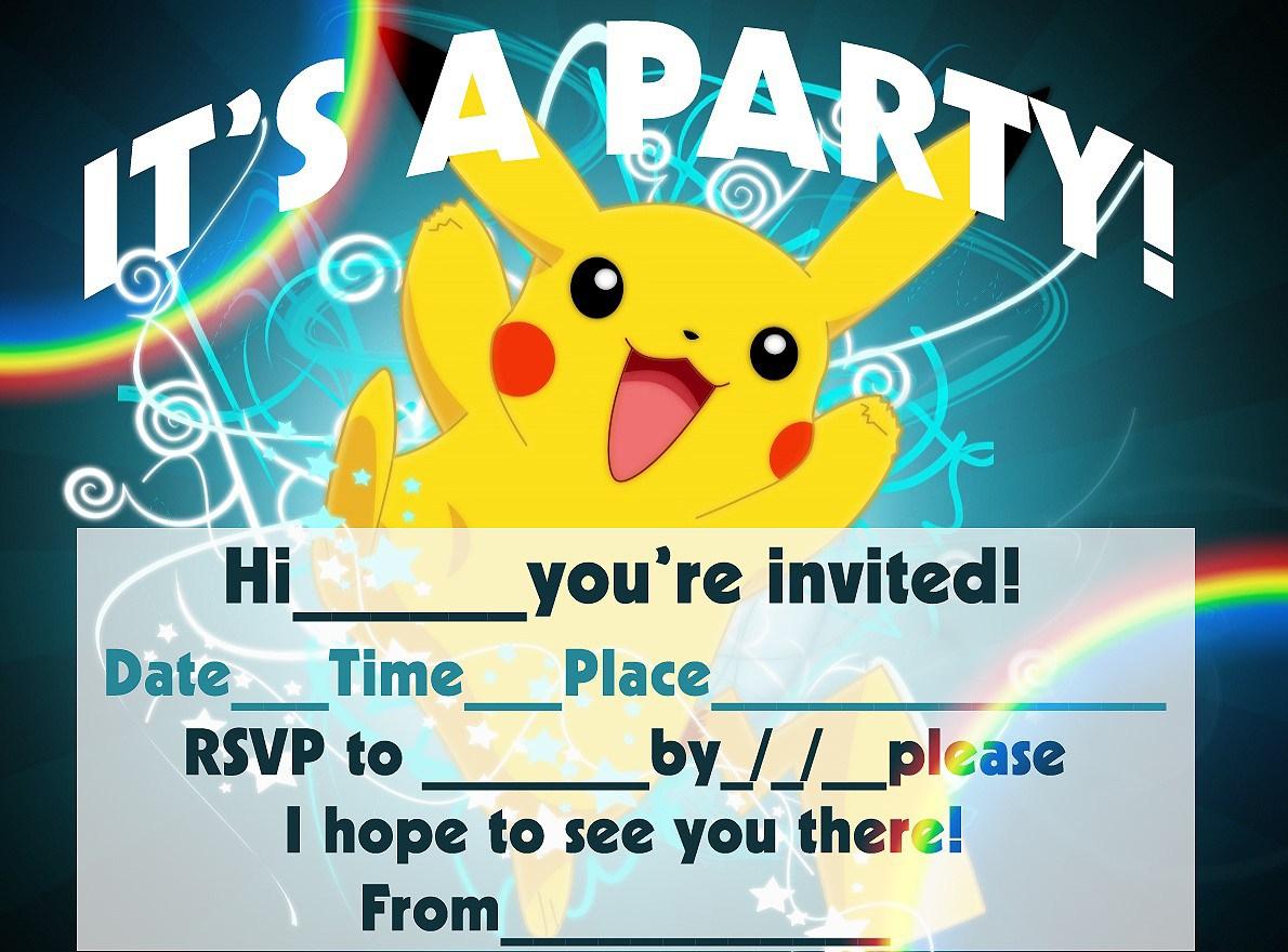 12 Superb Pokemon Birthday Invitations | Kittybabylove - Free Printable Pokemon Birthday Invitations