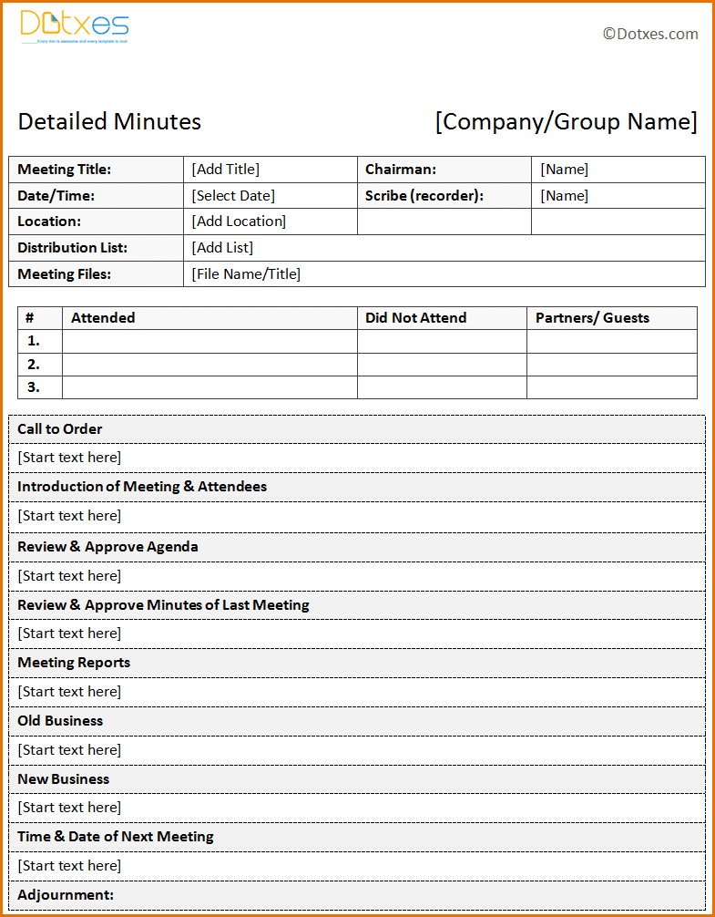 12+ Template For Meeting Minutes | Job Resumes Word - Meeting Minutes Template Free Printable