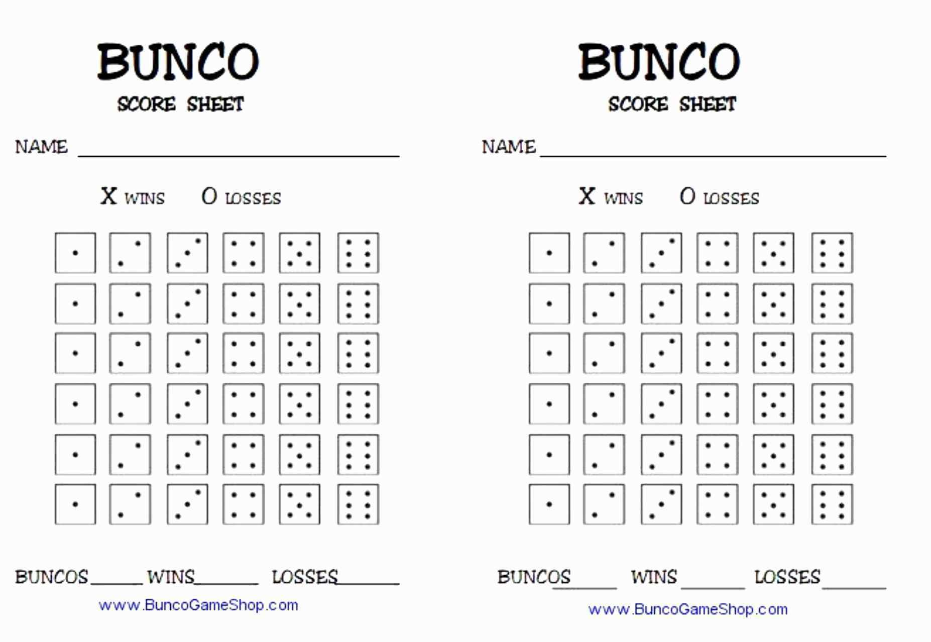 13 Best Of Free Bunco Scorecard Template - Document Template Ideas - Printable Bunco Score Cards Free