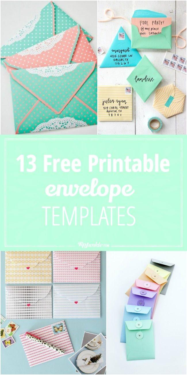 13 Free Printable Envelope Templates   Printables   Pinterest - Free Printable Greeting Card Envelope Template