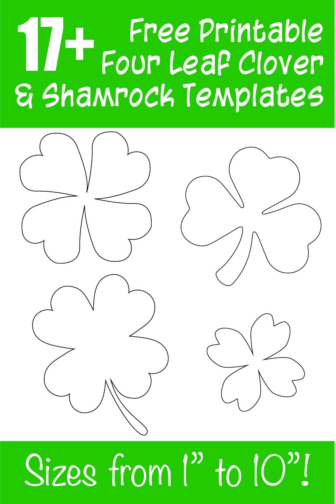 17+ Free Printable Four Leaf Clover & Shamrock Templates - The - Four Leaf Clover Template Printable Free