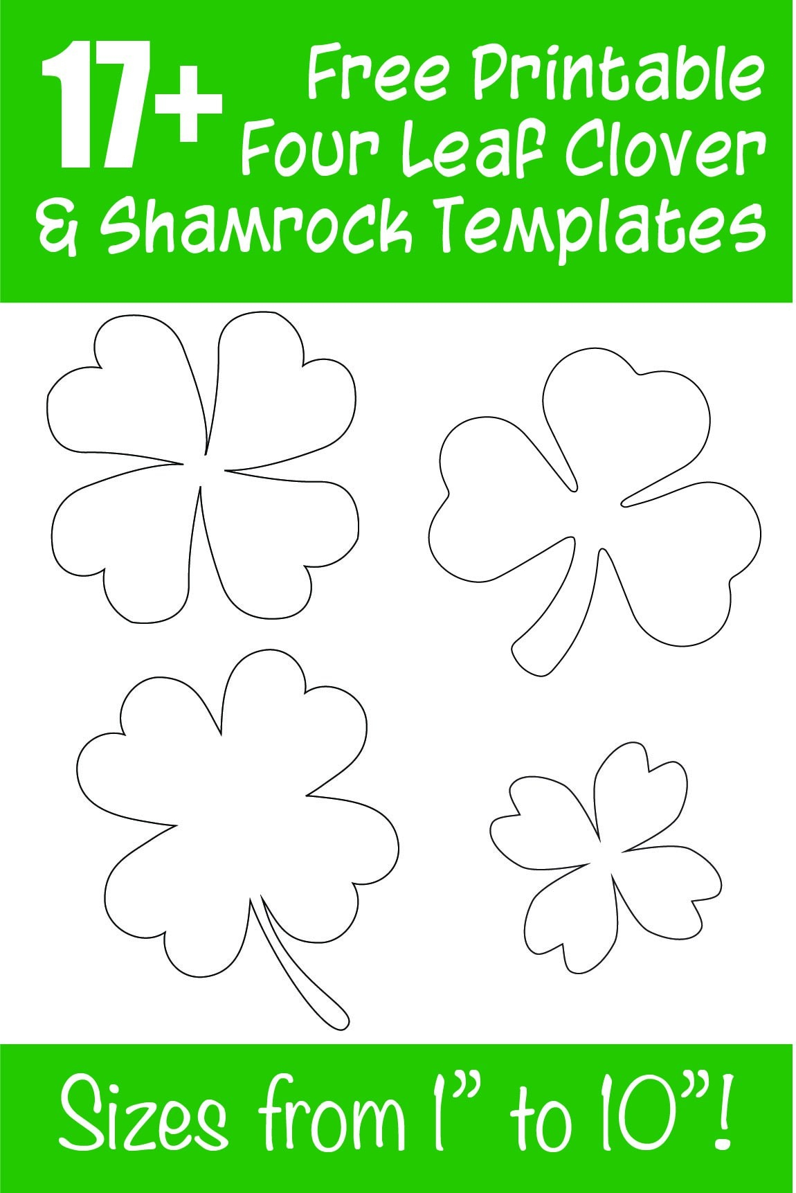 17+ Free Printable Four Leaf Clover & Shamrock Templates - The - Free Printable Shamrocks