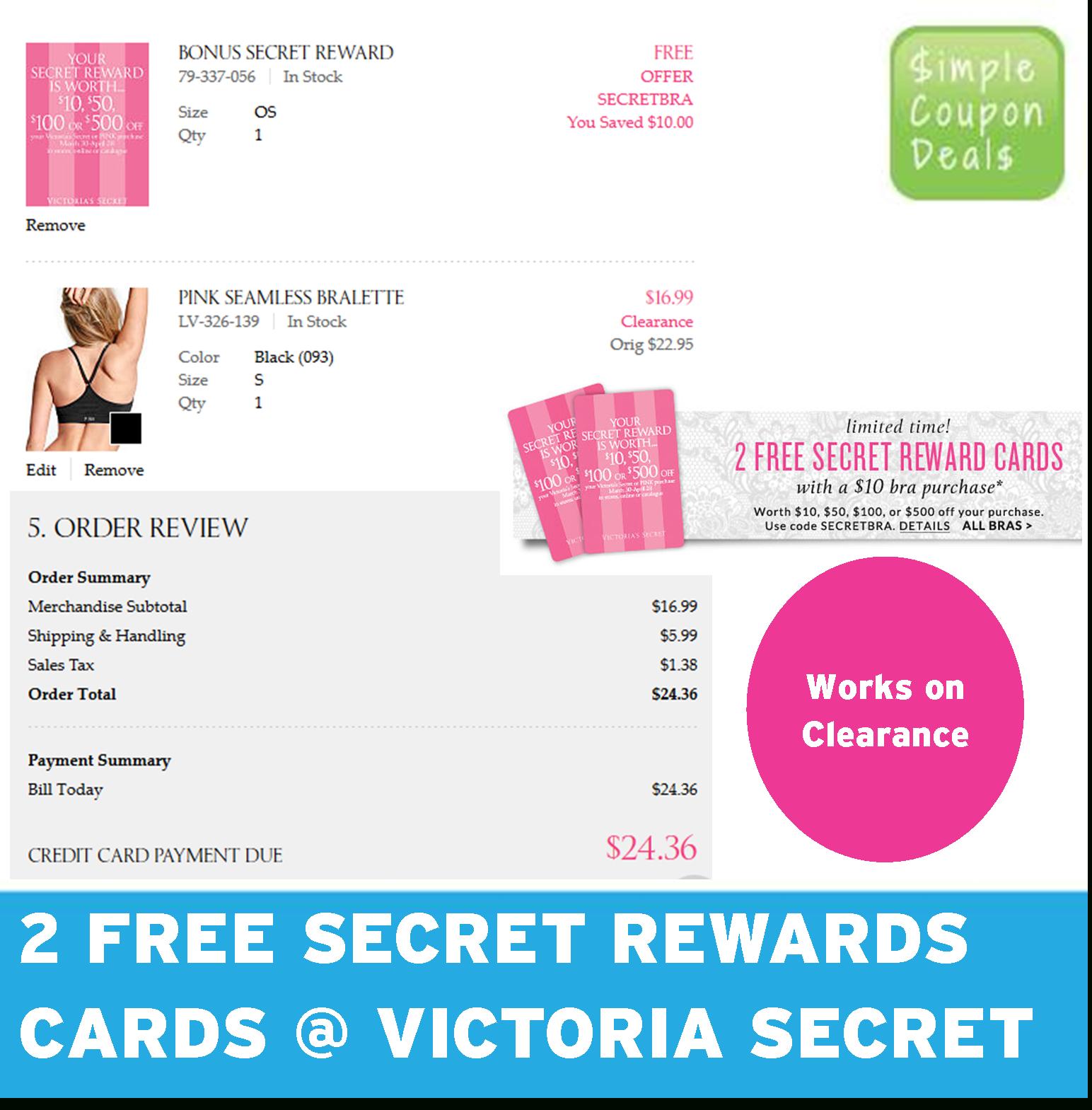 2 Free Secret Rewards Cards @ Victoria Secret - Simple Coupon Deals - Free Printable Coupons Victoria Secret