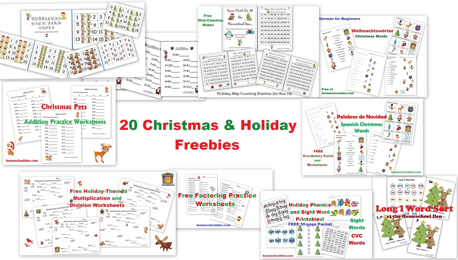 20 Free Christmas And Holiday Printables - Homeschool Den - Free Homeschool Printable Worksheets