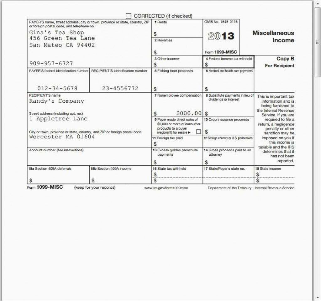 2013 1099 Form Ceriunicaasl Intended For Free Printable 1099 Misc - Free Printable 1099 Misc Form 2013