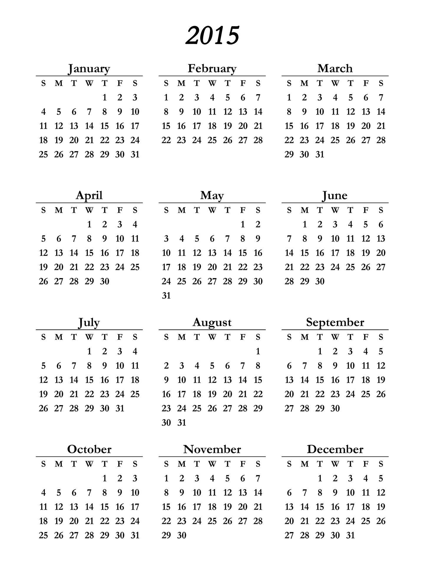 2015 Calendar Printable - Free Large Images | 2 | Pinterest | 2015 - Free Printable Diary 2015