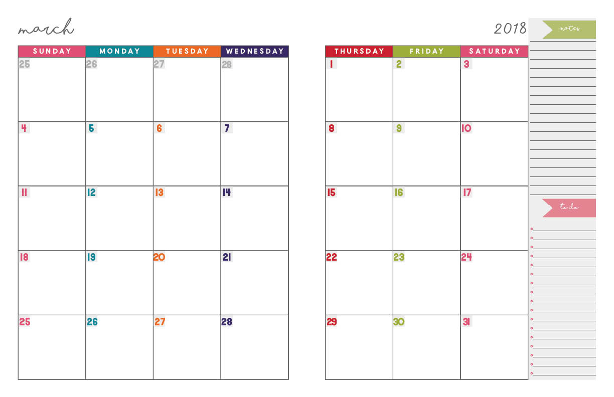 2018 Monthly Planner | Free Printable Calendar, 2-Page Spread - Planner 2018 Printable Free