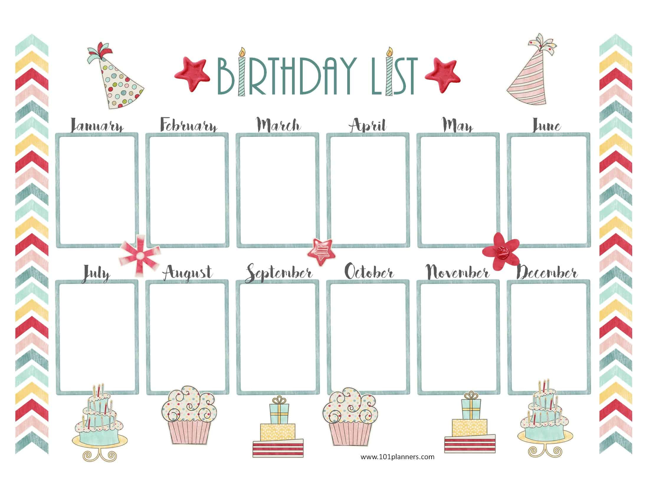 22. 4 Birthday Charts Freeology, Editable Birthday Chart Printable - Free Printable Birthday Graph