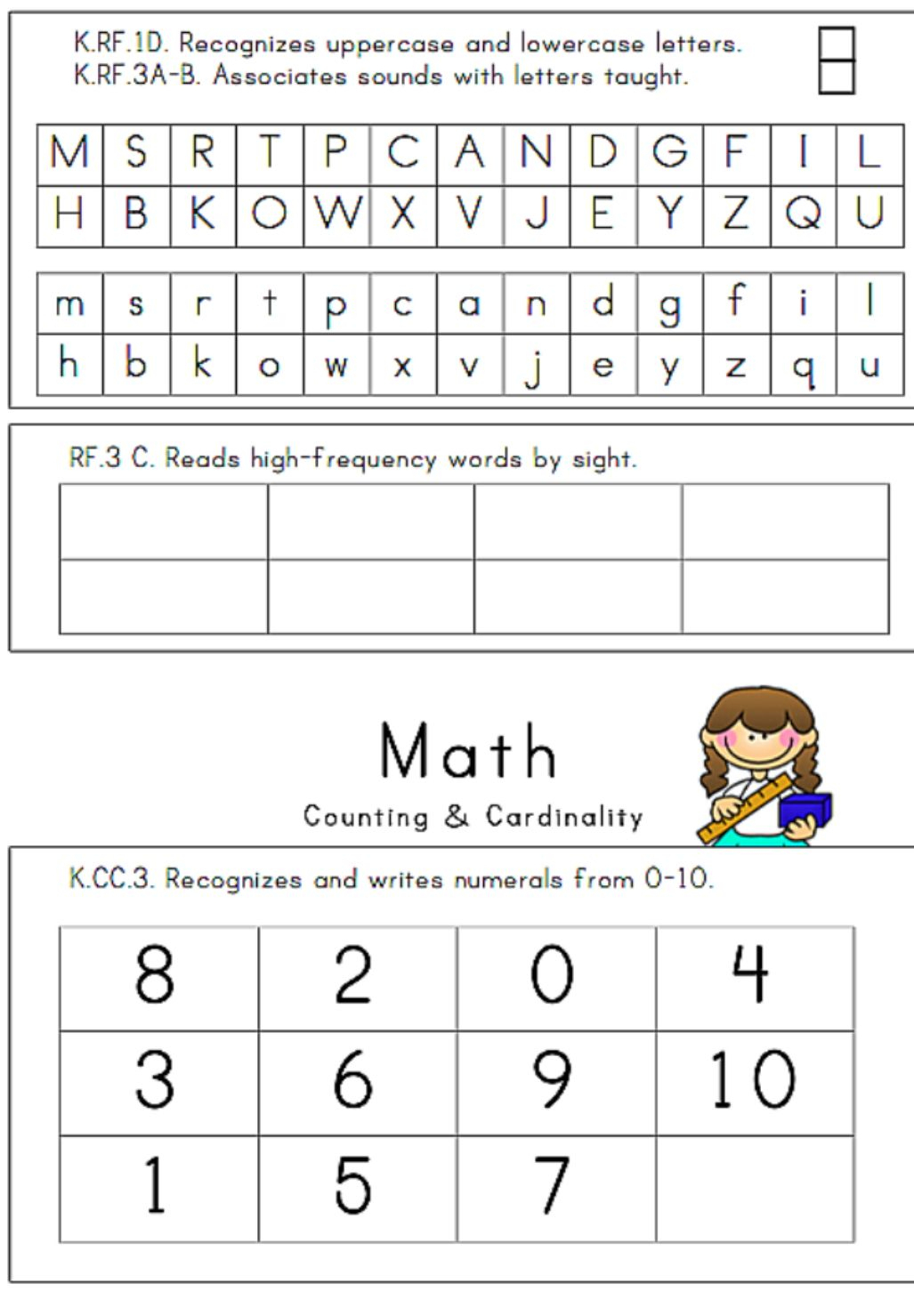 24 Page, Illustrated Kindergarten Assessment | Assessments - Free Printable Informal Math Assessments