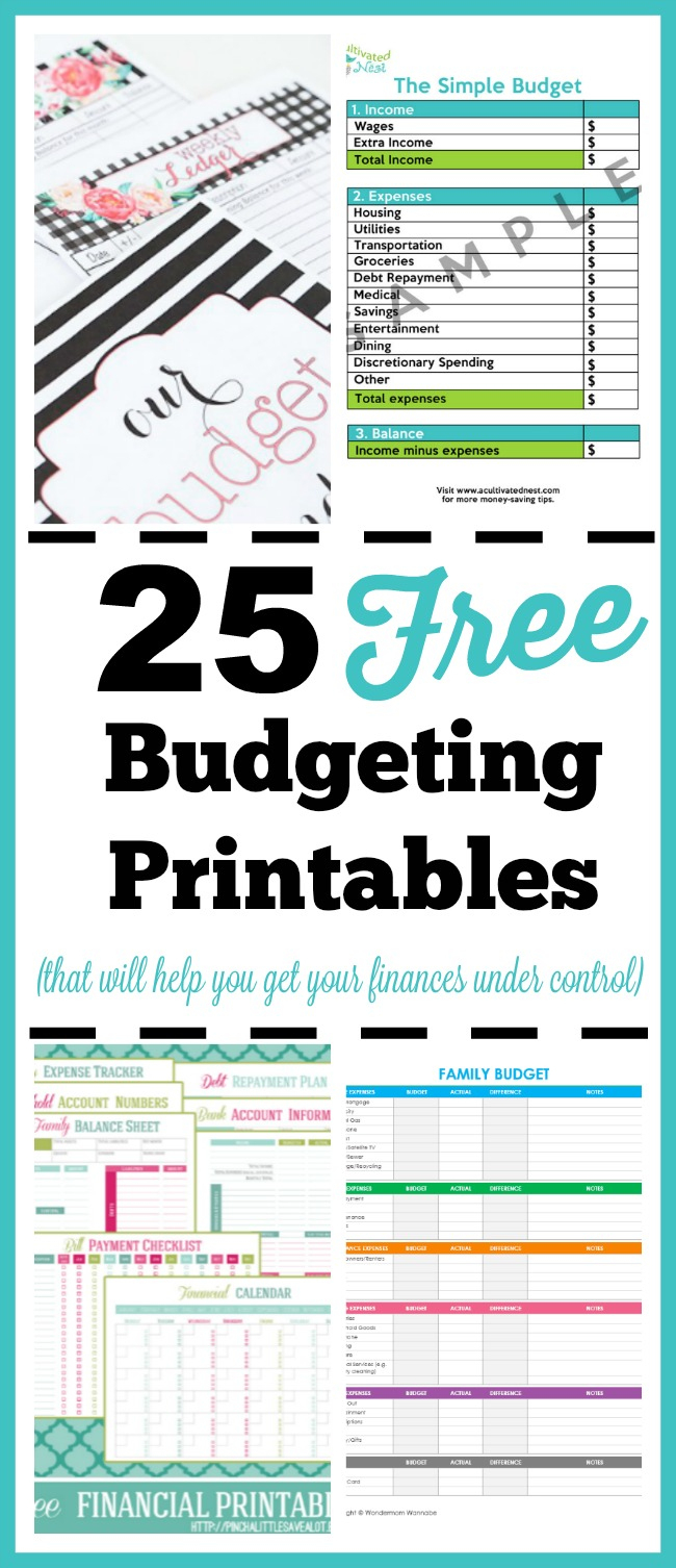 25 Free Budgeting Printables- Take Control Of Your Finances! - Free Printable Budget Binder