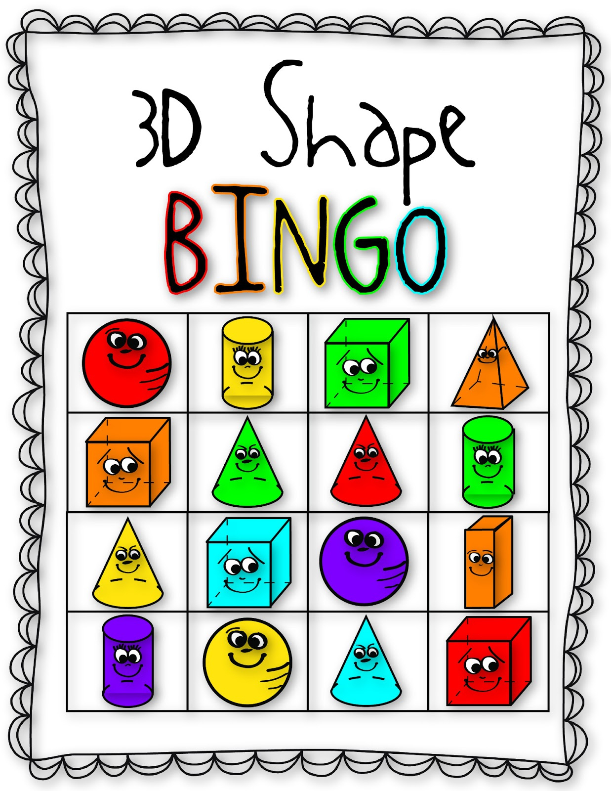 26 Images Of Shape Bingo Template | Bfegy - 3D Shape Bingo Free Printable