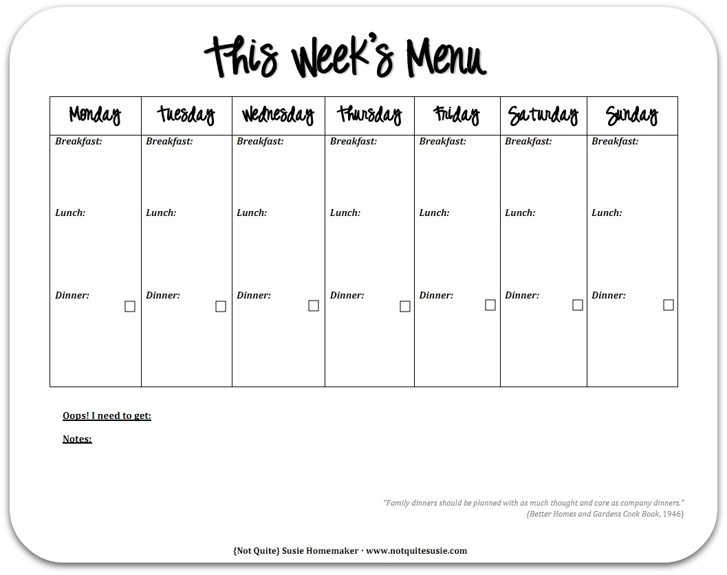 28 Useful Printable Monthly Meal Planners   Kittybabylove - Free Printable Monthly Meal Planner