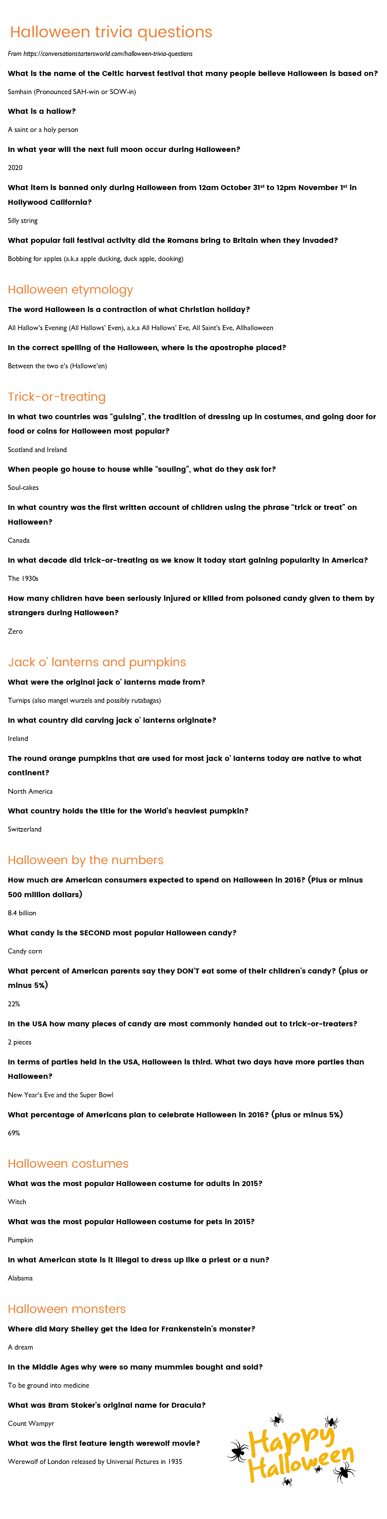 29 Challenging Halloween Trivia Questions - How Many Can You Answer? - Free Printable Halloween Quiz