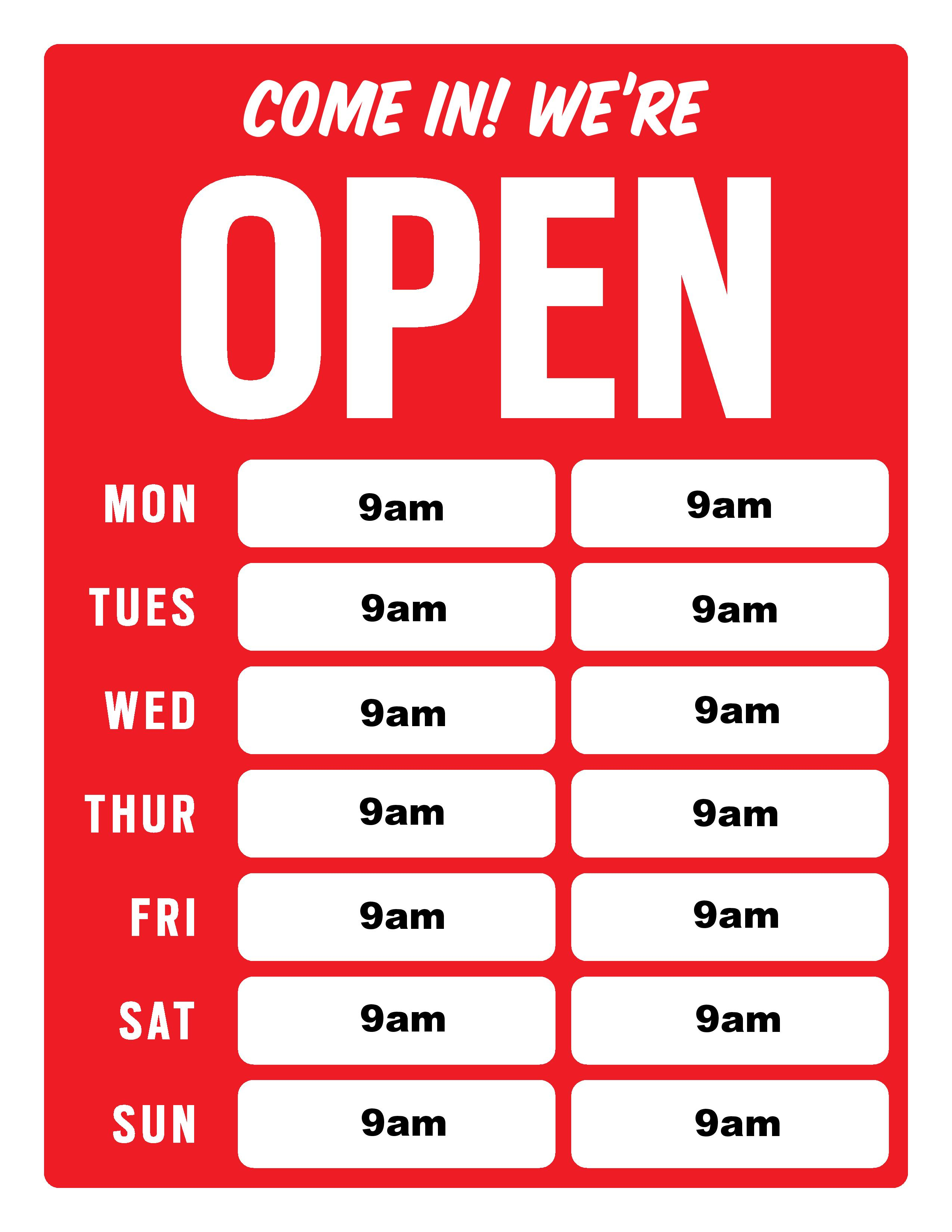 29 Images Of Free Business Hours Template | Unemeuf - Free Printable Business Hours Sign