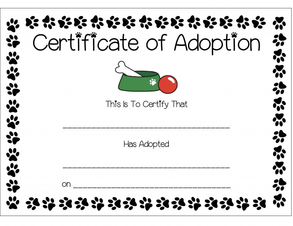29 Images Of Puppy Party Adoption Certificate Template | Photomeat - Free Printable Stuffed Animal Adoption Certificate