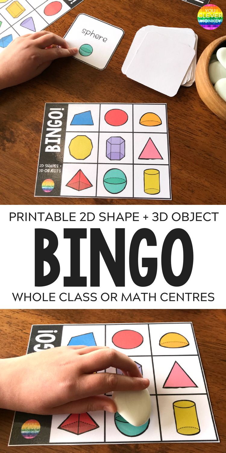 2D Shape + 3D Object Bingo Game | You Clever Monkey - 3D Shape Bingo Free Printable