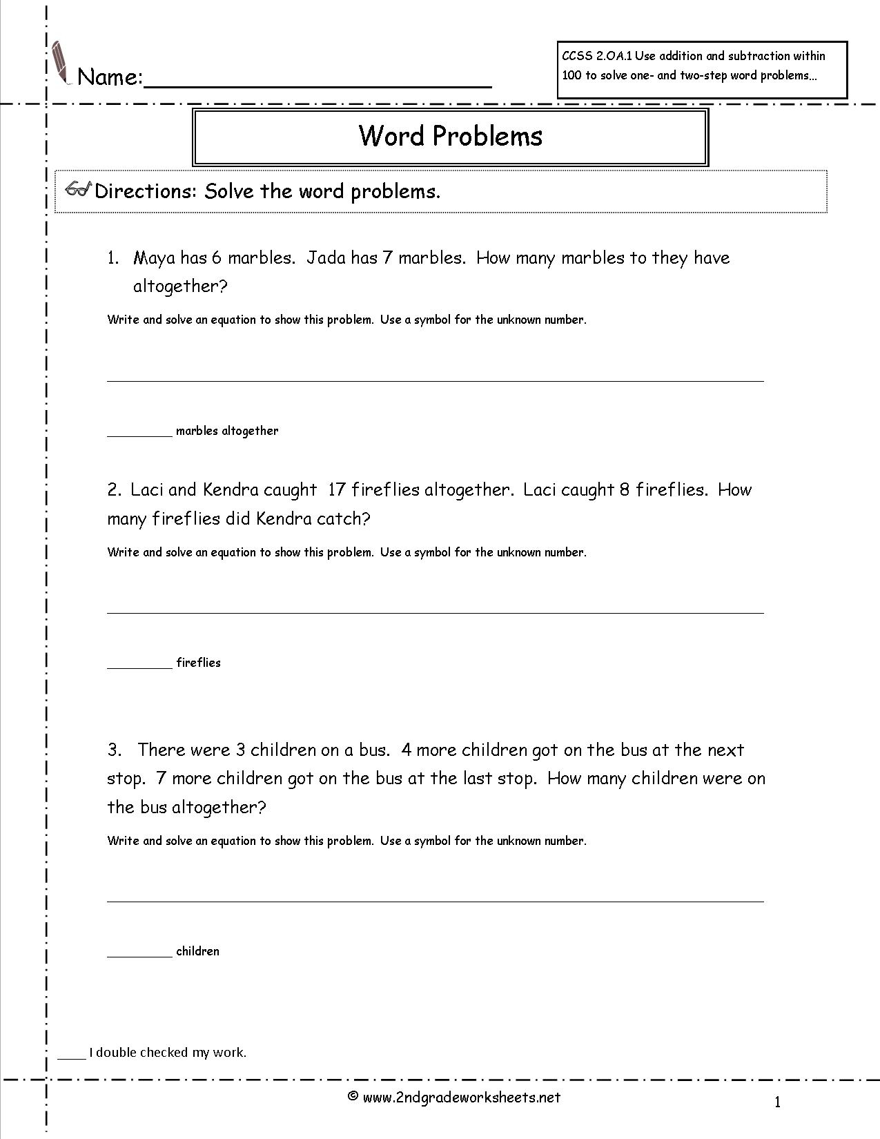 2Nd Grade Math Common Core State Standards Worksheets - Free Printable Math Word Problems
