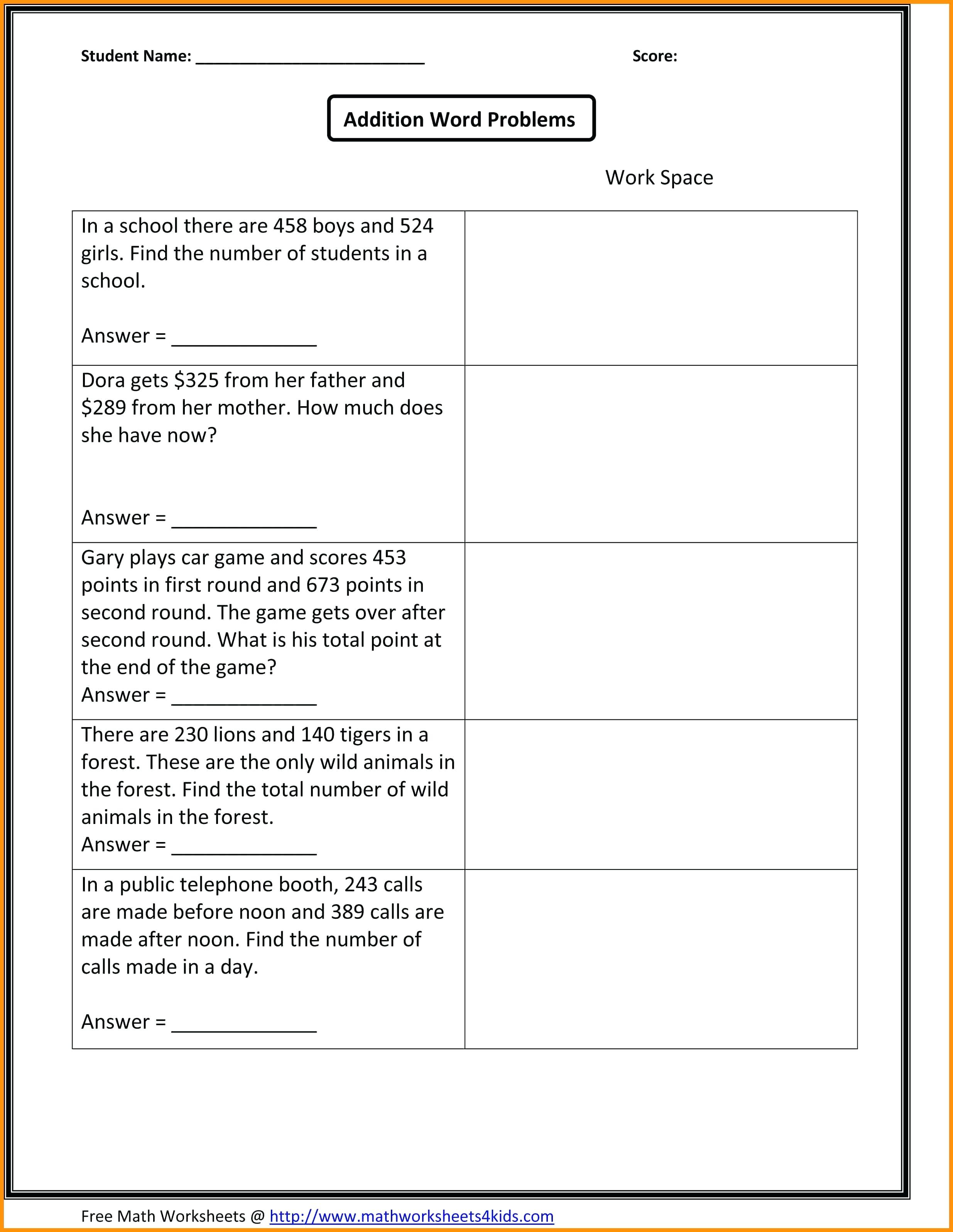 2Nd Grade Math Word Problems Grade Math Worksheets Money Grade Math - Free Printable Math Word Problems For 2Nd Grade