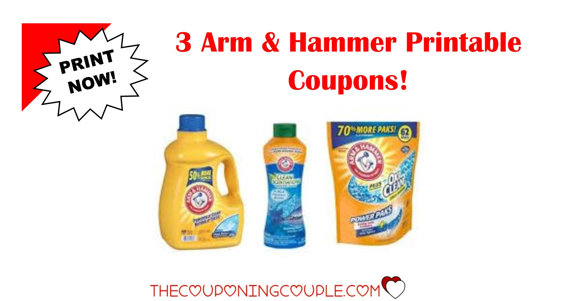 3 Arm & Hammer Printable Coupons ~ Print Now!! Don't Miss Out! - Free Printable Coupons For Arm And Hammer Laundry Detergent