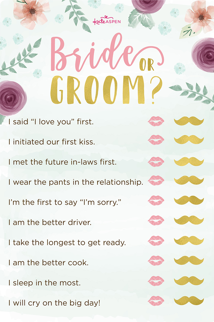 3 Bridal Shower Games + Free Printables | Kate Aspen Blog - Free Printable Bridal Shower Games