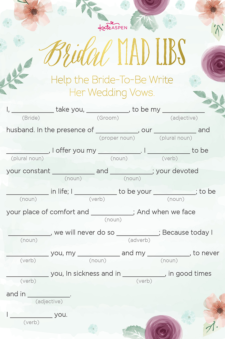 3 Bridal Shower Games + Free Printables | Kate Aspen Blog - Free Printable Wedding Mad Libs