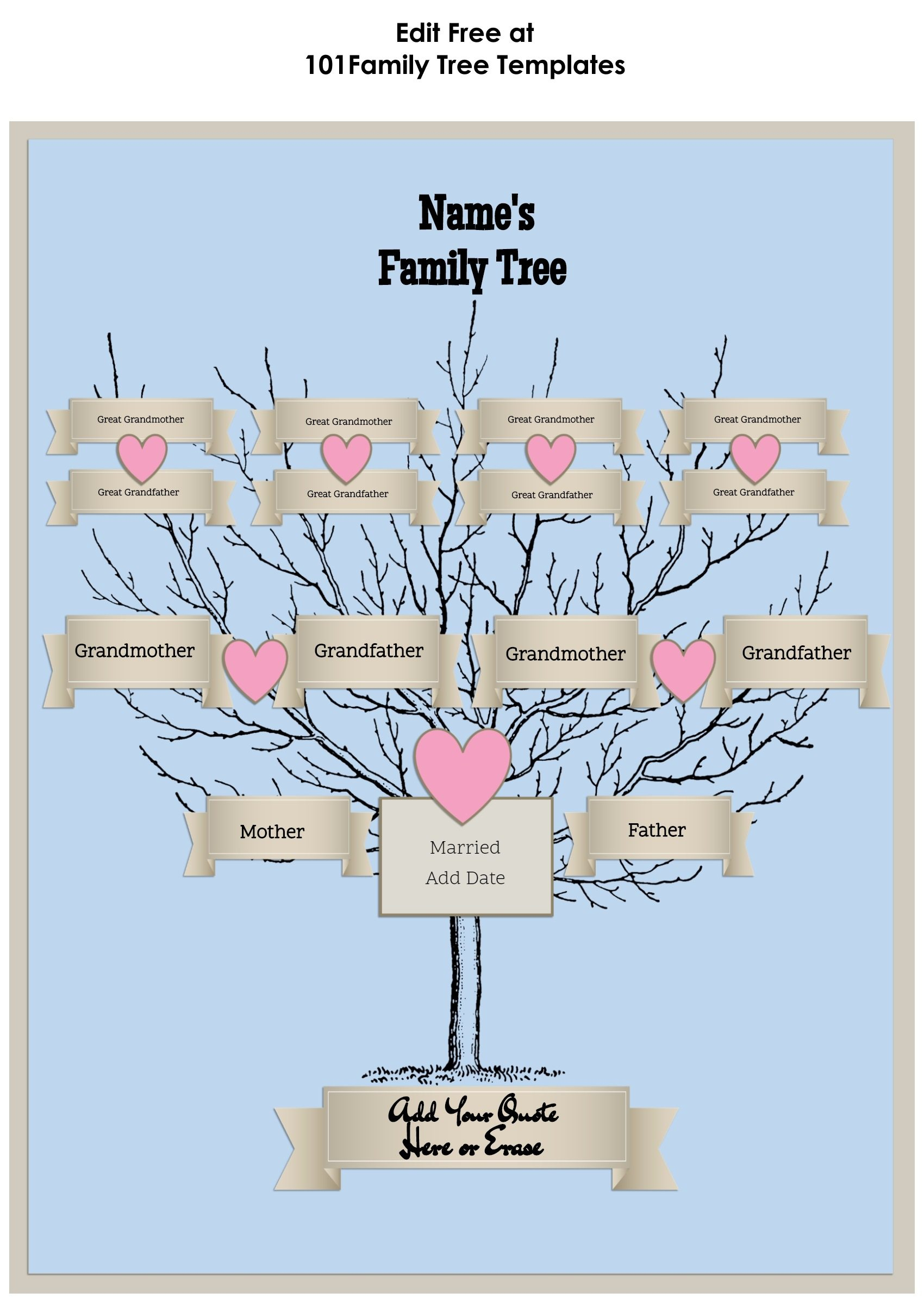 3 Generation Family Tree Generator | All Templates Are Free To Customize - Family Tree Maker Free Printable