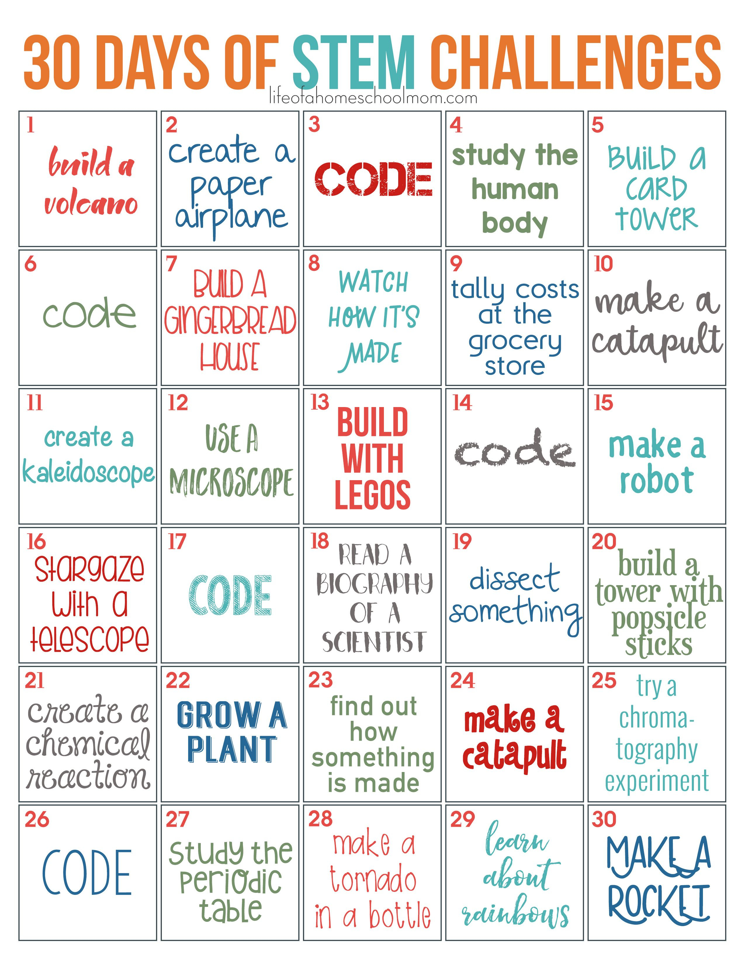 30 Days Of Stem Challenges - Free Printable | Stem Ideas | Stem - Free Printable Stem Activities