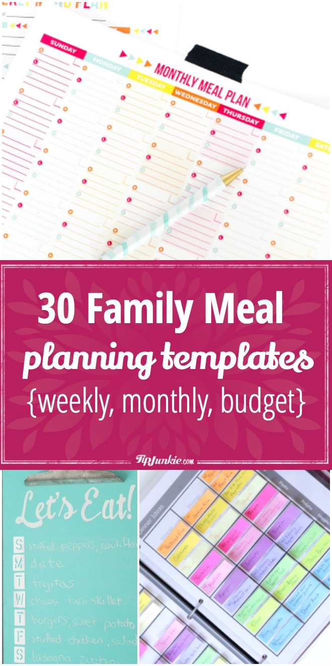 30 Family Meal Planning Templates {Weekly, Monthly, Budget} – Tip Junkie - Free Printable Monthly Meal Planner