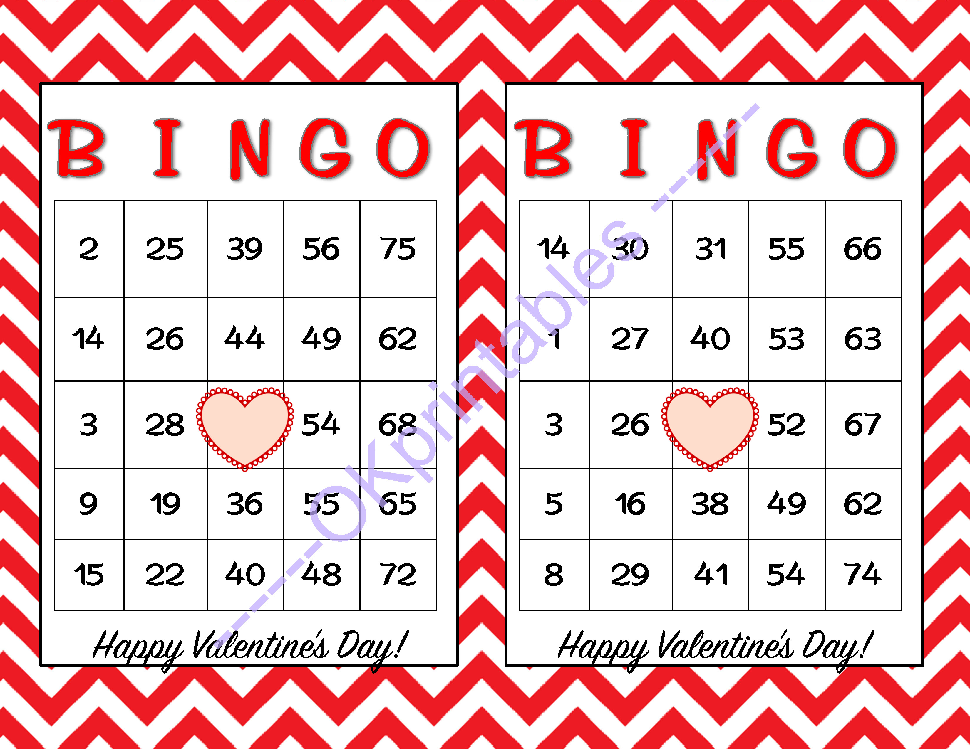 30 Happy Valentines Day Bingo Cards -Okprintables On Zibbet - Free Printable Bingo Cards Random Numbers